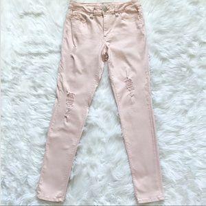 YMI skinny pink distressed jeans size 9.
